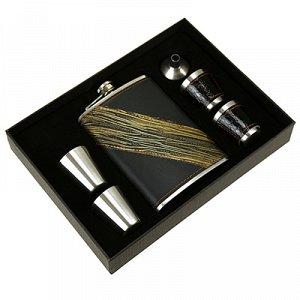 Набор подарочный мужской 7 предметов: фляга 250мл 9,5х2см h15см; стопка 30мл д3,7см h4см - 5 штук; воронка, нержавеющая сталь в оплетке из кожзама, черный, в подарочной коробке (Китай)