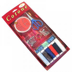 Набор для шитья 11 предметов: цветные нитки - 6 штук; ножницы; сантиметр; иголки; булавки; наперсток, в блистере (Китай)