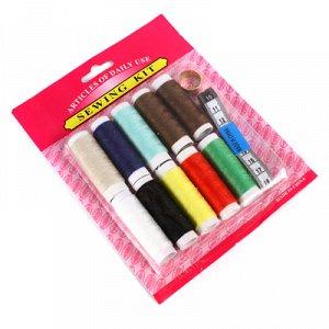 Набор для шитья 12 предметов: цветные нитки - 10 штук; сантиметр; наперсток, на блистере (Китай)