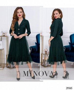Платье №209-1-темно-зеленый