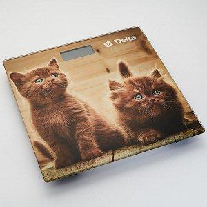 """Весы 150кг 28х28см электронные напольные DELTA D-9229 """"Рыжие котята"""""""