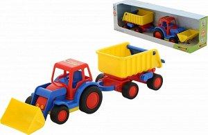 Базик трактор погрузчик с прицепом