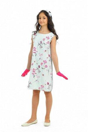 Платье Артикул: СС-ПЛ-19101; Цвет: Разноцветный Скачать таблицу размеров                                                 Нарядное платье без рукавов, силуэт трапеция. Верхний слой платья выполнен из