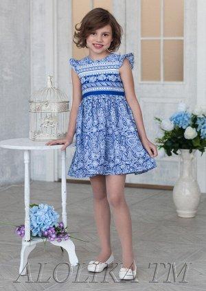 Нюра синий Легкое, почти воздушное платье из натурального 100%-ого хлопка для маленьких модниц. Модель с рукавами-крылышками, застежкой-молнией на спинке и поясом, который завязывается сзади в бант, н
