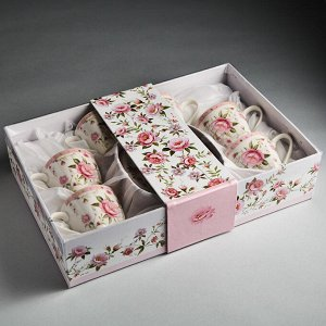 """Набор кофейный 12 предметов Ф2-017B/6 """"Розовый танец"""" в подарочной коробке"""