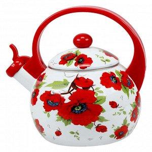 """Чайник 2,5 л со свистком ЕМ-25101/11 """"Алые маки"""""""