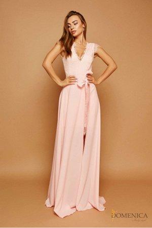 Domenica - Лаконичное платье с глубоким декольте Персиковый