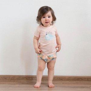Комплект (футболка, трусы) для девочки, карамельный, набивка медузы
