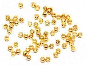 Кримпы зажимные Шарики 1,5 мм золотистые. 50 шт.
