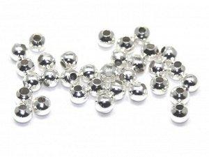 Шарики серебристые 3 мм. Диаметр отверстия 1,5 мм. Цвет - серебро. Материал - сплав металлов. Цена за 50 шт.