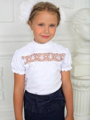 """Блузка """"Кружевница"""",  кор. рук, белый"""