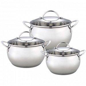 Набор посуды 6 предметов: 3 кастрюли (2,8 л, 4,8 л, 6,2 л) из нержавеющей стали со стеклянными крышками BE-336/6