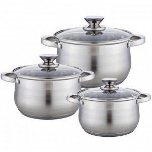Набор посуды 6 предметов: 3 кастрюли (2,1 л, 2,9 л, 3,9 л) из нержавеющей стали со стеклянными крышками BE-614/6