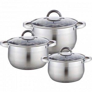 Набор посуды 6 предметов: 3 кастрюли (2,1 л, 2,9 л, 3,9 л) из нержавеющей стали со стеклянными крышками BE-616/6
