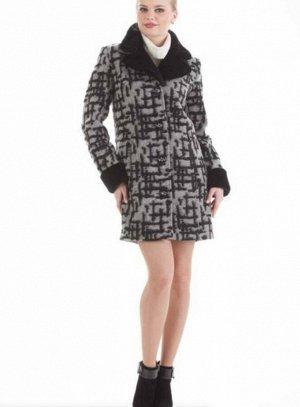 Пальто Ткань: 60% шерсть мериноса/40% вискоза Цвета: — Серый Длина 87 см Мех - Искусственный Кролик