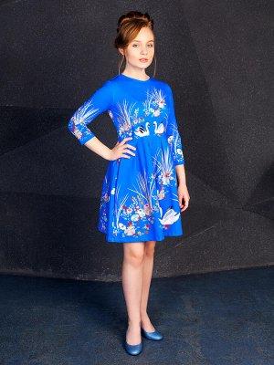 """Платье """"Лебеди"""",синий"""