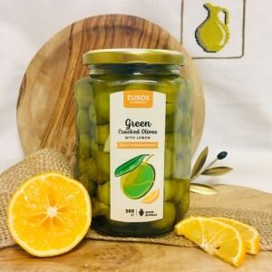 Оливки зеленые (битые) с лимоном, Греция, ст.банка, 500г