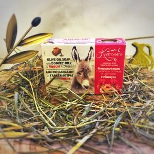 Оливковое мыло с молоком ослицы и цветками гибискуса Knossos, 100г