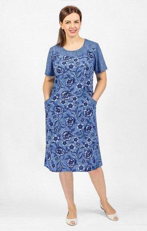 Платье трикотажное, индиго (568-1)