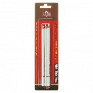 Уголь белый в карандаше Koh-i-Noor GIOCONDA 8812, набор разных твёрдостей № 2, 3, 4