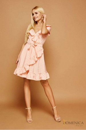 Domenica - Летнее платье в белый горох Персиковый