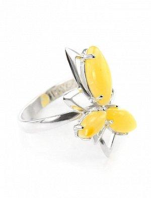 Асимметричное кольцо из серебра с медовым янтарём «Калипсо», 6063102395