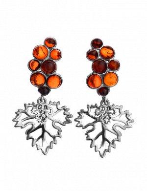 Нарядные серьги из серебра и натурального вишнёвого янтаря «Виноград», 806510359