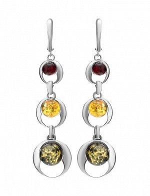 Длинные серебряные серьги со вставками сверкающего янтаря трех ярких оттенков «Орион», 506511292