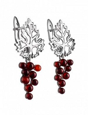 Красивые серьги «Виноград» из натурального вишнёвого янтаря в серебре, 806511358