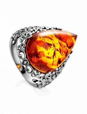 Роскошное серебряное кольцо с янтарём коньячного цвета «Луксор», 906304111