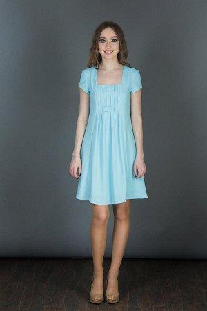 Платье стиль бэби-долл, небесно-голубого цвета, ткань плательная,полупрозрачная, тяжелая,на подкладе, размеры 42-52