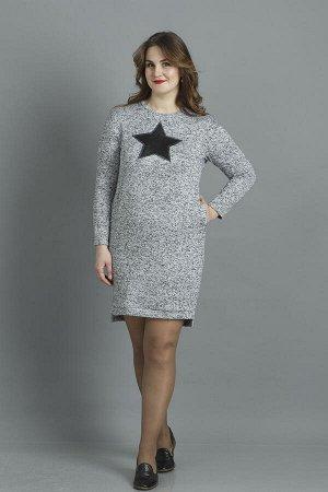 Платье-туника из серого меланжа с аппликацией -звезда