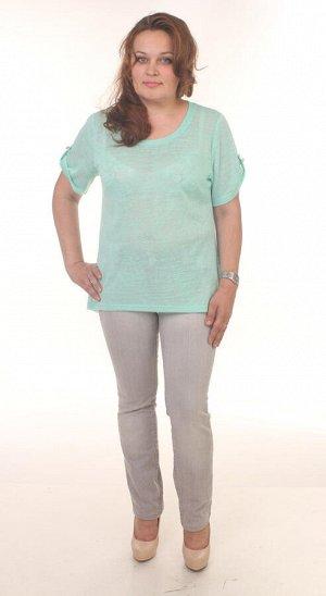Блузка из тонкого вязаного трикотажа мятного цвета 48 размер