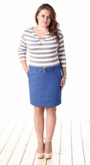 П-89/1 морячка, ткань верха-вискоза с элластаном, юбочка-джинса со стрейчем, размеры 44-56