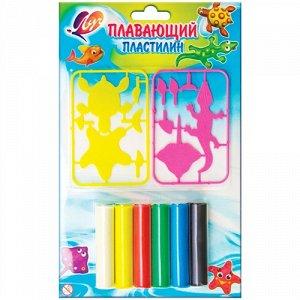 Пластилин плавающий с пластмассовыми деталями 6 цветов