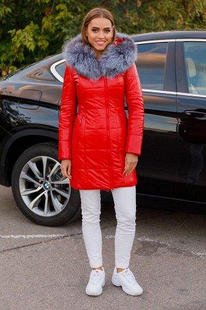 Женская зимняя куртка из эко-кожи 8178 красная