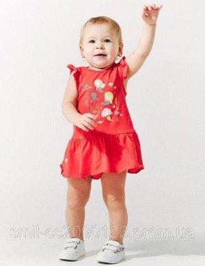 Красный Комплект (сарафан+трусы) для девочек