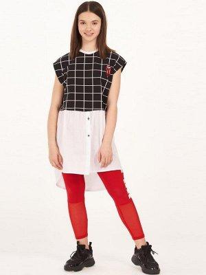 Платье-туника прямого силуэта с асимметричным низом