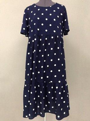 Платье  Цвет:синий/ред.горох