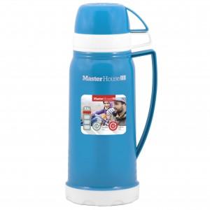 Термос MasterHouse Венеция стекл. колба/пластик, узкое горло, 0,6л, чашки 2шт, синий, 60029/60660