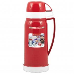 Термос MasterHouse Венеция стекл. колба/пластик, узкое горло, 0,6л, чашки 2шт, красный, 60029/60569