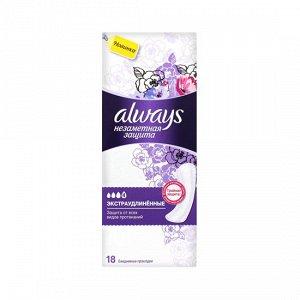 ALWAYS Ежедн гигиенические прокладки ароматизированные Незаметная защита экстраудлиненные Single, 18 шт