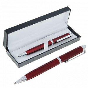 Ручка шариковая, подарочная, в кожзам футляре, поворотная, «Эспрессо», бордовая с серебром
