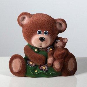 """Копилка """"Медведица с малышом"""" флок, коричневая, 30 см, микс"""