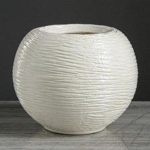 """Ваза настольная """"Шарик №4"""". белая. 15 см. керамика"""