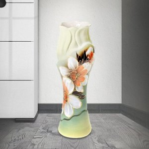 "Ваза настольная ""Азалия"" нарцисс. зелёная. 32 см. микс. керамика"