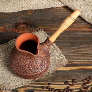 Турка для кофе №2 0,5 глазурованная, деревянная ручка