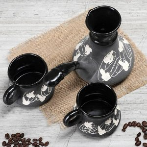 "Кофейный набор ""Узор"", 3 предмета, турка 0.5 л, 2 чашки 0.2 л"