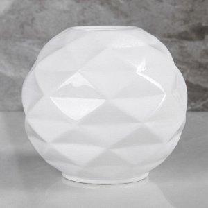"""Ваза настольная """"Сфера"""". белый цвет. 16 см. керамика"""