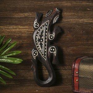 """Панно настенное дерево """"Геккон коричневый с орнаментом"""" 1х11х30 см"""